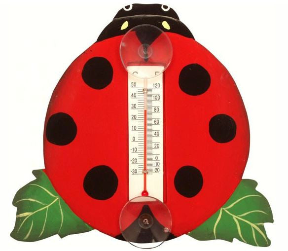 Ladybug on a Leaf Small Window Thermometer