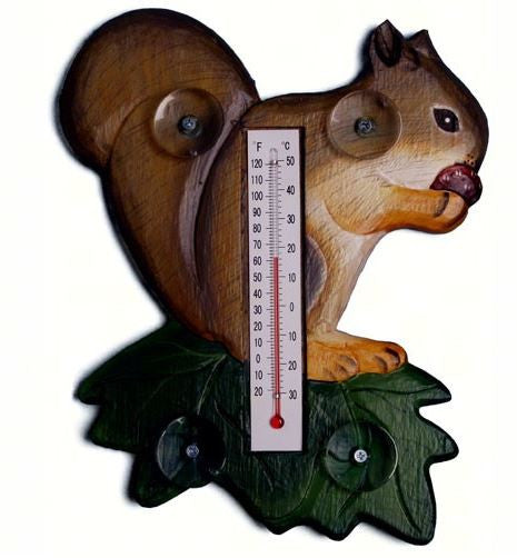 Squirrel on a Leaf Small Window Thermometer