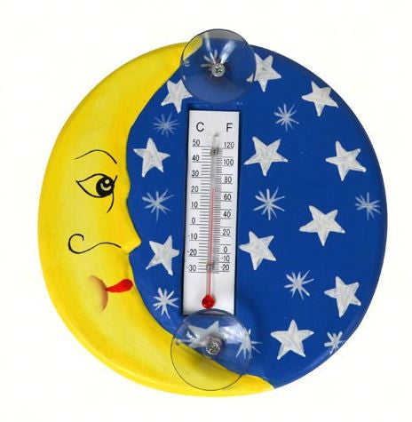 Crescent Moon & Stars Small Window Thermometer