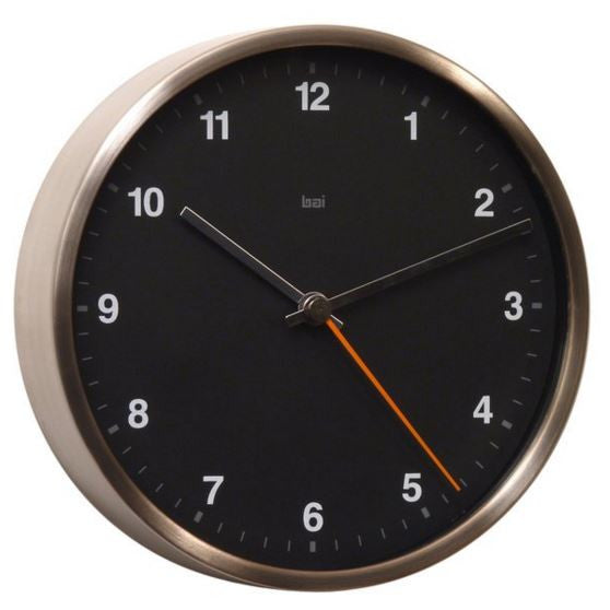Helio Steel Black Wall Clock