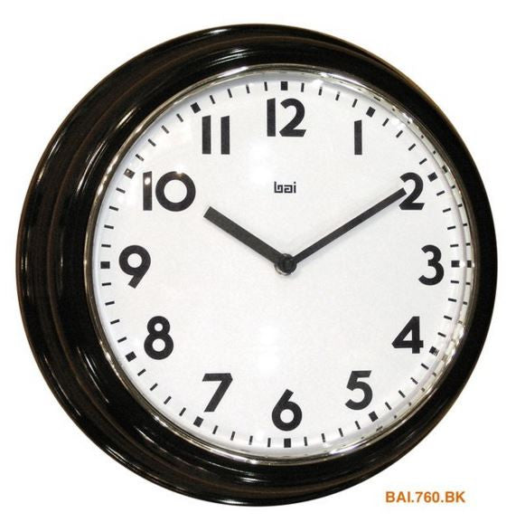 "Jet Black 12.5"" Retro Landmark Wall Clock"