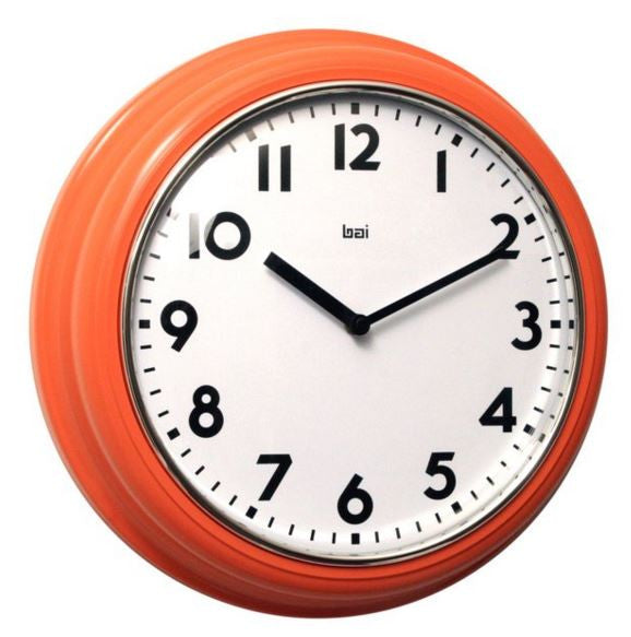 "Orange 12.5"" Retro Landmark Wall Clock"