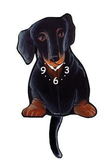 Black and Tan Dachshund Pendulum Wall Dog Clock