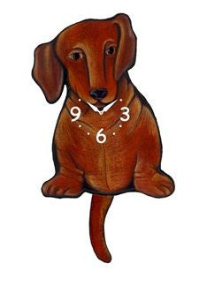 Brown Dachshund Pendulum Wall Dog Clock