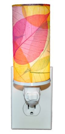 Multicolored Cylinder Real Leaves, Fair-trade, Sustainable, Night Light