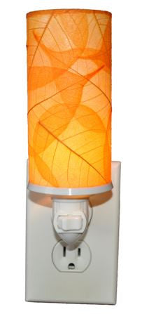 Orange Cylinder Real Leaves, Fair-trade, Sustainable, Night Light