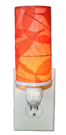 Red Cylinder Real Leaves, Fair-trade, Sustainable, Night Light
