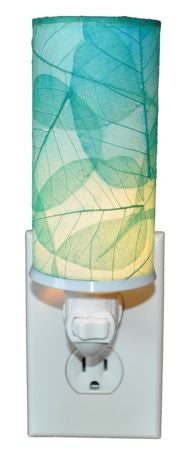 Sea Blue Cylinder Real Leaves, Fair-trade, Sustainable, Night Light
