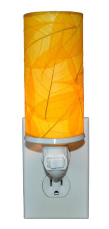 Yellow Cylinder Real Leaves, Fair-trade, Sustainable, Night Light