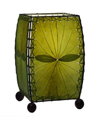 Green Mini Real Leaves, Fair-trade, Sustainable, Square Lamp