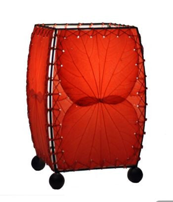Red Mini Square Real Leaves, Fair-trade, Sustainable, Table Lamp