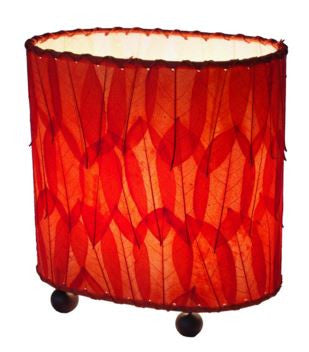 Red Mini Guyabano Real Leaves, Fair-trade, Sustainable, Table Lamp