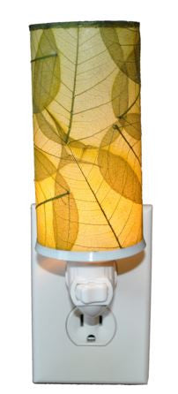 Green Cylinder Real Leaves, Fair-trade, Sustainable, Night Light
