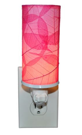 Pink Cylinder Real Leaves, Fair-trade, Sustainable, Night Light