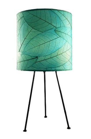 Sea-Blue, Real Leaf, Sustainable, Metal Tripod Drum Table Lamp