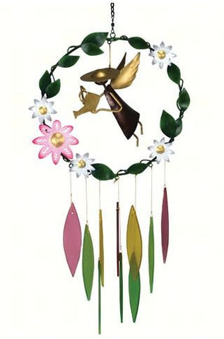 Garden Angel with Large Flowers Sea-Glass Wind Chime