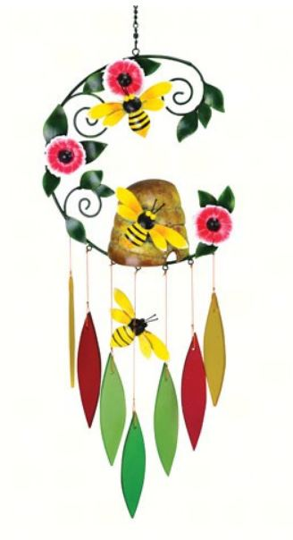 Bee on a Beehive Sea-Glass Wind Chime