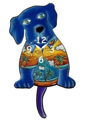 Hawaiian Dog Pendulum Wall Clock