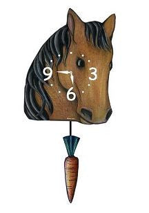 Horse with Carrot Pendulum Wall Clock