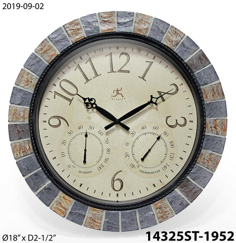 Inca II Indoor/Outdoor Wall Clock