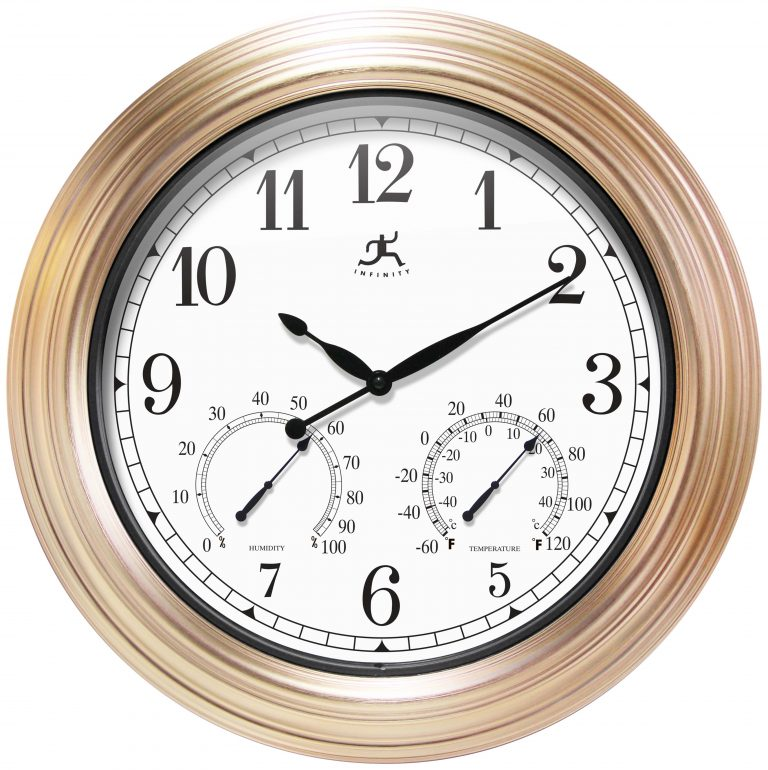 Copper Indoor/Outdoor Wall Clock with Thermometer & Hygrometer