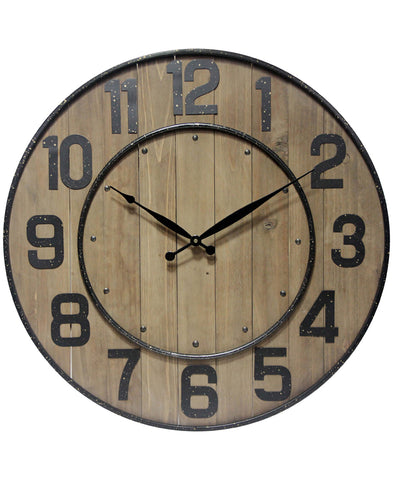 Arabic Numeral Wine Barrel Wall Clock