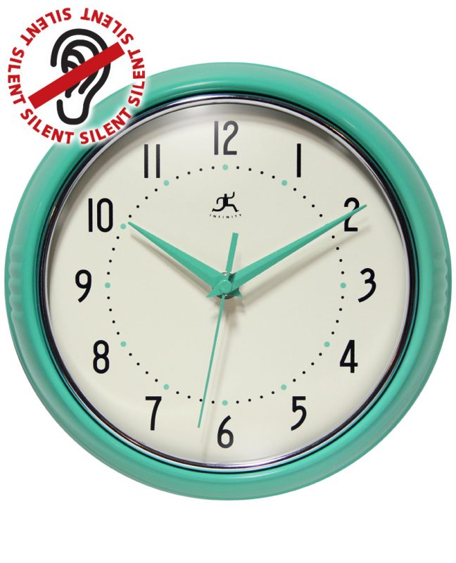Aqua Retro Metal Wall Clock