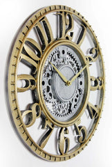 Gold & Silver Gear Design Wall Clock