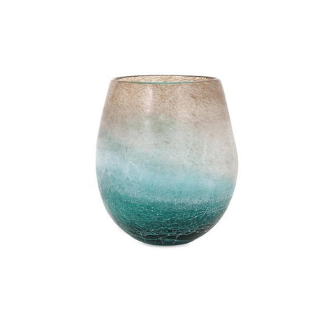 Luna Short Blue Frosted Vase