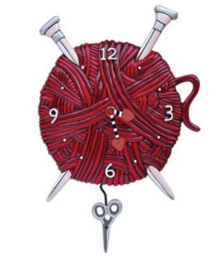Knitting Love Pendulum Wall Clock