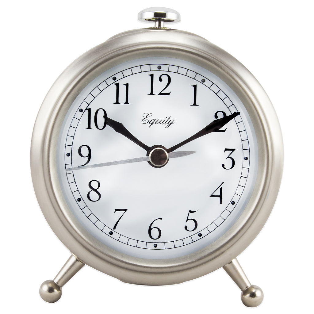 Brushed Metallic Analog Quartz Alarm Clock