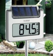 Solar-Powered Garden Thermometer & Clock