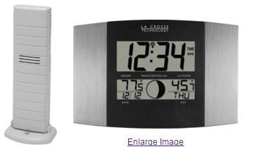 Silver Atomic Digital Wall / Table Clock With Moon Phase