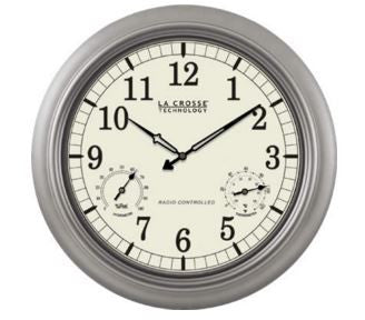 "Silver Atomic Indoor / Outdoor 18"" Wall Clock"