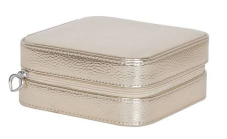 Luna Square Metallic Travel Jewelry Box