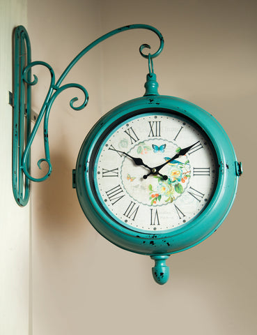 Turquoise Double- Sided Bracket Wall Clock