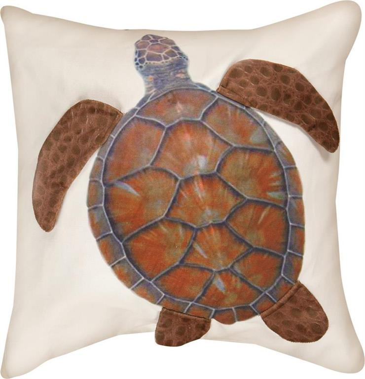 Sea Turtle 3D Applique Pillow