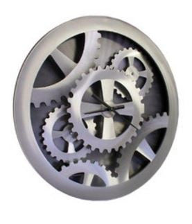 Silver Gears Moving Wall Clock