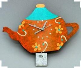 Orange Tea Pot Wall Clock
