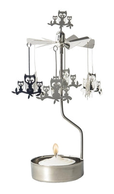 Owls on Branch Rotary Candle Holder