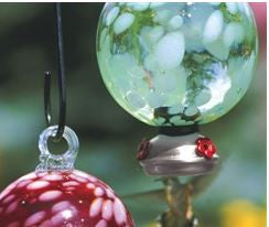 Cloud Green Dew Drop Recycled Glass Hummingbird Feeder
