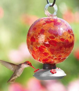Cinnabar Dew Drop Recycled Glass Hummingbird Feeder