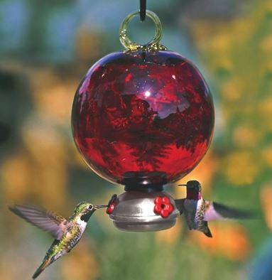 Deluxe Ruby Red Dew Drop Recycled Glass Hummingbird Feeder