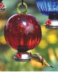 Ruffle Red Dew Drop Recycled Glass Hummingbird Feeder