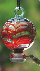 Spiderweb Red Dew Drop Recycled Glass Hummingbird Feeder
