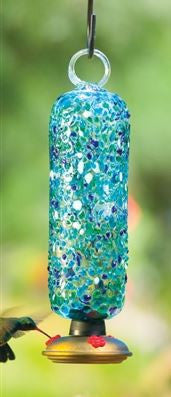 Ocean Filigree Recycled Glass Hummingbird Feeder