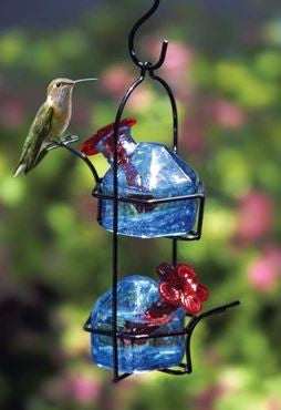 Blue Lunch Pail 2 Recycled Glass Hummingbird Feeder