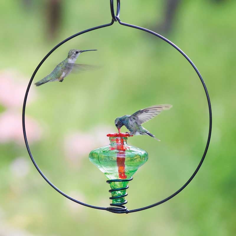 Mini Blossom Circle Recycled Glass Hummingbird Feeder