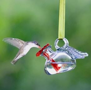 Clear Pixie Recycled Glass Hummingbird Feeder