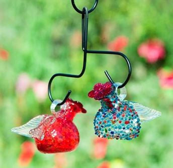 2 Pixies Hanging Recycled Glass Hummingbird Feeder